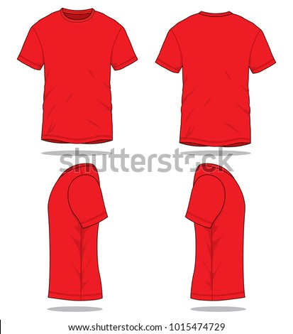 Set Red T Shirt Vector Template Stock Vector Shutterstock - Red t shirt template