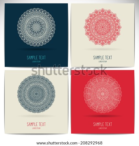 Set retro card. Vector background. Card or invitation. Vintage decorative elements. Hand drawn background. Islam, Arabic, Indian, ottoman motifs. - stock vector