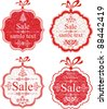 Set Retro Christmas Tag. Collection of Christmas design elements isolated on White background. Vector illustration - stock vector