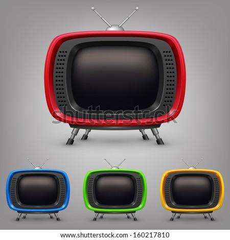 Set retro color tv - stock vector