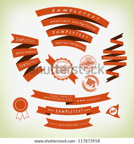 set retro ribbons and label /vector collection - stock vector