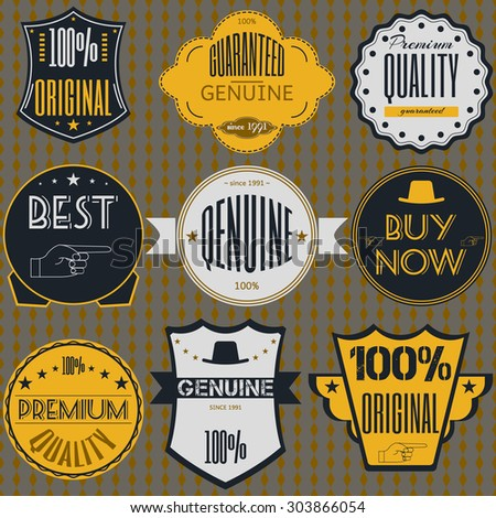 Set retro vintage badges, ribbons and labels hipster signboard premium, guaranteed, genuine,original - stock vector
