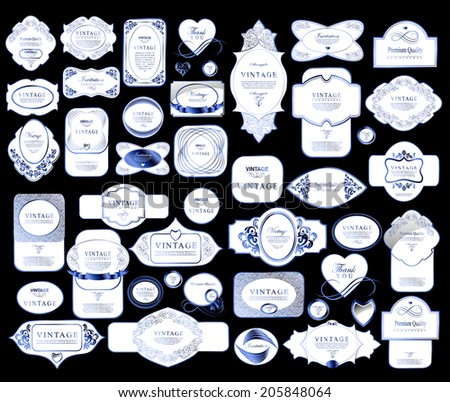 set retro vintage ribbons and label - stock vector