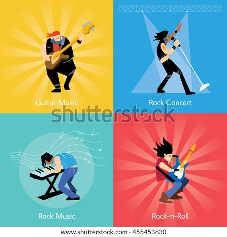 Set rock musicians. Rock performer. Rock guitarist. Artists rock music. Four banners with rock musicians. Rock band. - stock vector