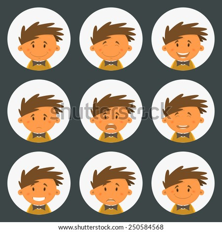Set round avatars with fun children. Vector illustration - stock vector