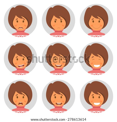 Set round avatars with fun girl. Vector illustration - stock vector