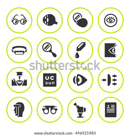 Set round icons of ophthalmology and optometry
