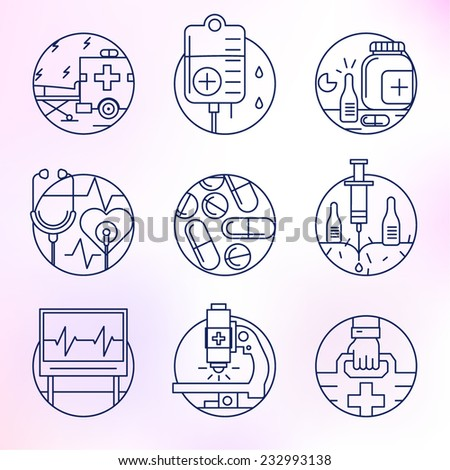 Set round, vector icons.Medicine, remedy, health care, rehabilitation, blood transfusion, cardiac rhythm. - stock vector