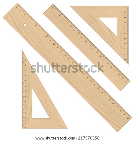 Set - Rulers Triangular wooden - stock vector