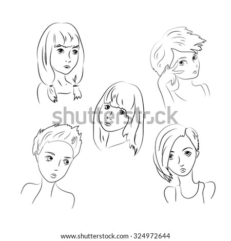 Set Sad Girls, Young Teenager, Children Depression . Isolated on White Background - stock vector