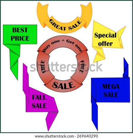 Set Sale, great sale, best sale, fall sale, mega sale, special offer, buy one get one free. Circular banners, ribbons. Unusual ribbon, banners. Vector paper banners - stock vector
