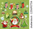 Set Santa Claus and labels on green background transparency blending effects - stock vector