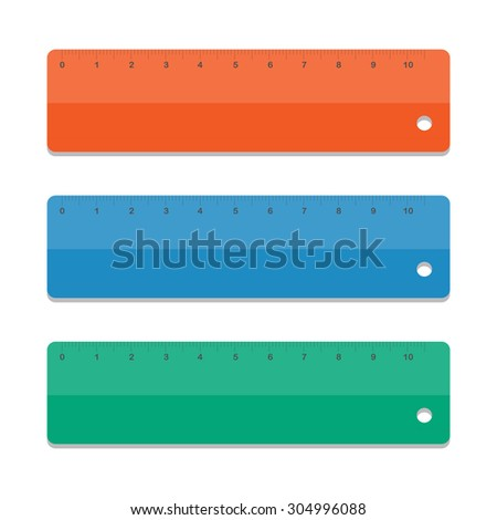 Set school rulers. Illustration on white background. Colorful rulers. Rulers in centimeters and inches. Vector school supplies.  - stock vector