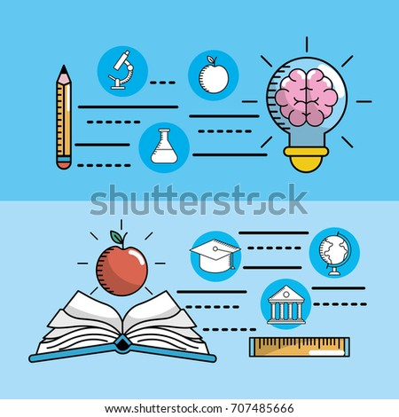 Set school utensils education knowledge stock vector 707485666 set school utensils to education knowledge voltagebd Images