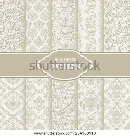 Set Seamless Floral Pattern. Vector illustration of 10 retro patterns collection for seamless background - stock vector