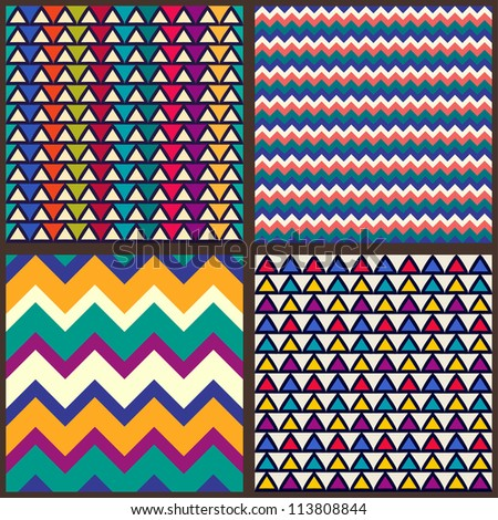Set. Seamless geometric abstract pattern with zigzags and triangles. Can be used in textiles, for book design, website background. - stock vector