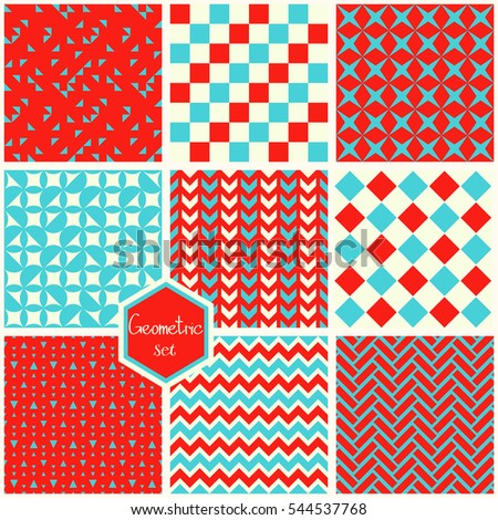 Set. Seamless geometric abstract patterns. Can be used in textiles, for book design, website background.