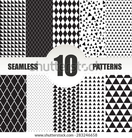 Set seamless geometric patterns.Triangle and rhombus patterns collection - stock vector