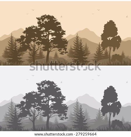 Set Seamless Horizontal Landscapes, Mountains with Trees and Grass, Birds in the Sky, Gray and Brown Silhouettes. Vector - stock vector