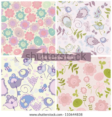 Set seamless pattern flowers and birds - stock vector