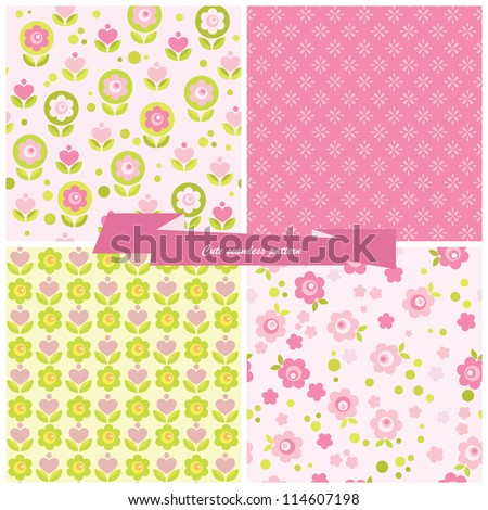 Set seamless pattern flowers and hearts. - stock vector