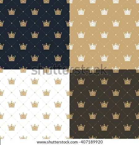 Set seamless pattern in retro style with a white and gold crown on a blue, gold, white and brown background. Can be used for wallpaper, pattern fills, web page background. Vector Illustration