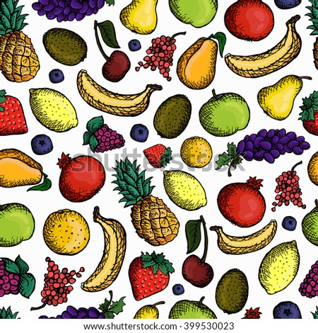 Set seamless pattern of various doodles ,hand drawn sketches of fruits.Vector illustration isolated on white background. Printing,cloth, wallpaper,wrapping,pattern fills,web page background,surface.