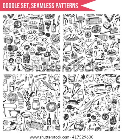 Set seamless patterns, hand drawn style - Cooking, food, vegetables, tools - stock vector