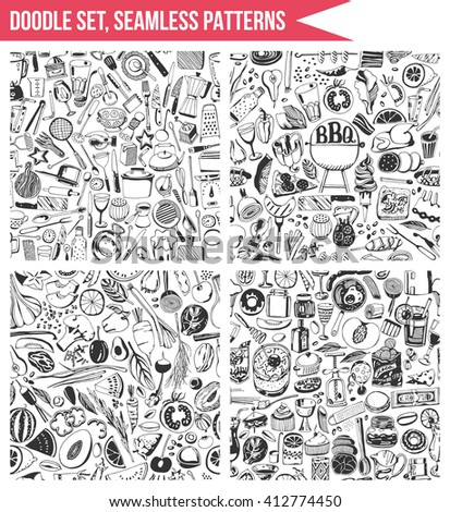 Set seamless patterns, hand drawn style. Cooking, healthy eating, tool. - stock vector