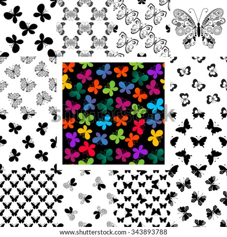 Set seamless patterns with colorful and black-white vintage butterflies, vector - stock vector