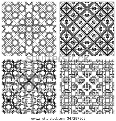 Set seamless vintage ethnic pattern in the Greek style. Black and white square wave forms.