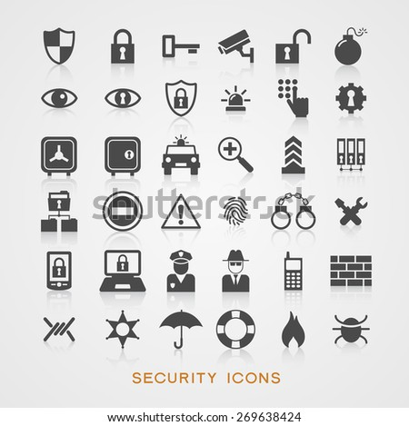 Set security icons. File is saved in AI10 EPS version. This illustration contains a transparency    - stock vector