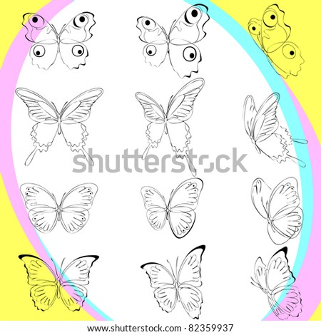 set silhouette butterflies, various types, and options   location. background