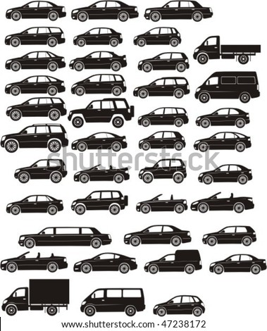 set silhouette different types of the cars