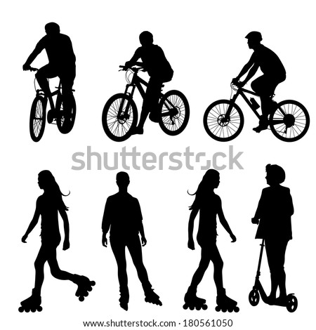 Set silhouette of a cyclist.  vector illustration. - stock vector