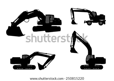 Set silhouette of the excavate on a white background. - stock vector