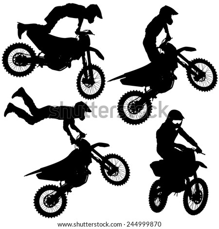 Set silhouettes Motocross rider on a motorcycle. Vector illustrations. - stock vector