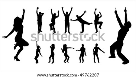 Set silhouettes of dancing boys and girls.