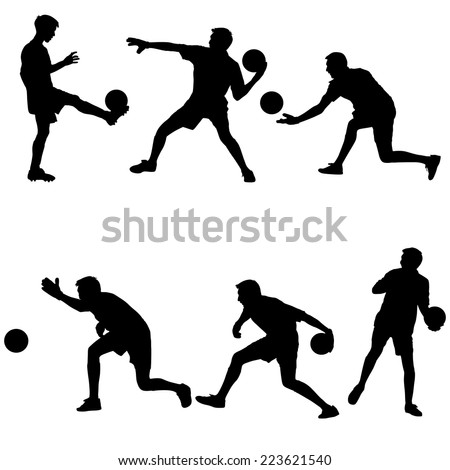 Set silhouettes of soccer players with the ball. Vector illustration.