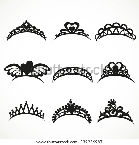 Set  silhouettes of tiaras of various shapes isolated on white background
