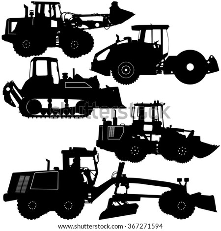 Set  silhouettes  road construction equipment. Vector illustration. - stock vector