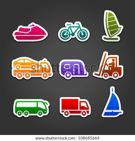 Set simple stickers multicolor transport - stock vector