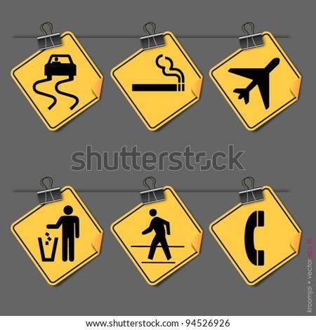 Set simple symbols Signs - stock vector