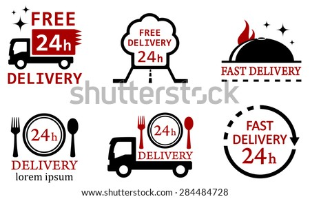 set six isolated icons for delivery food services - stock vector