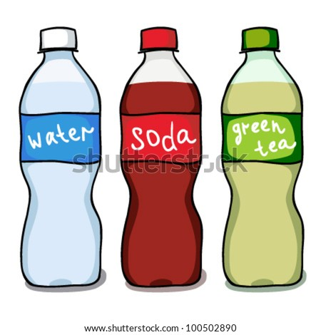 Set sketches of water, soda and green tea bottles. Vector Illustration - stock vector