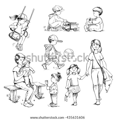 set sketches on white background kids preschoolers childhood childrens playground outdoor - Drawing Sketch For Kids