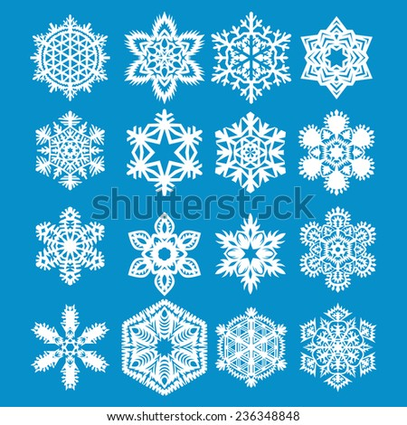 Set snowflake icons. Vector illustration. - stock vector
