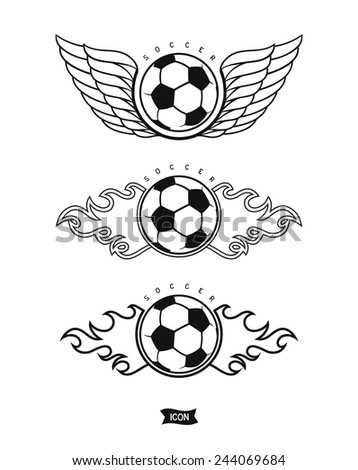 Set soccer ball with wings and fire. Isolated heraldic icons