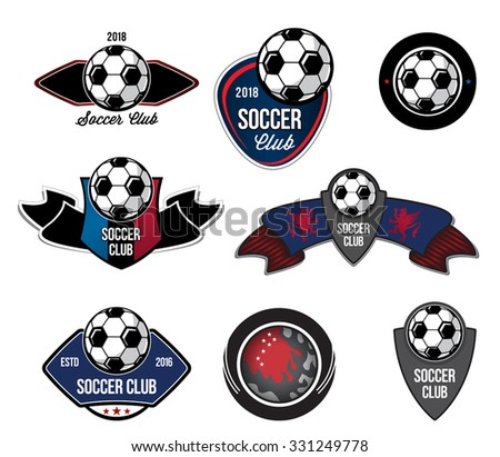 Set  Soccer logos, badges  design elements. Collection symbol of football: soccer ball, heraldry, insignia. Soccer ball sign logo. Football symbol. Sporting the emblem ball emblem. - stock vector