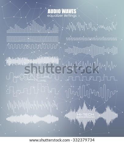 Set sound waves. Audio equalizer technology, pulse musical. Vector illustration Blurry soft creative. Music waves icons. Audio equalizer technology.  - stock vector